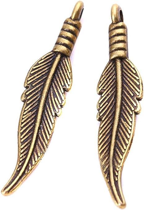 8 Antique Silver Bronze Tibetan Metal FEATHER Charms Pendant Bead Craft Card Kit