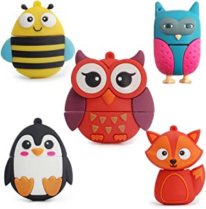 LEIZHAN 5X8GB Cute Animals USB Flash Drive with Chain Bee Fox Owls Penguin Pen Drive Gifts for School Kids and Students(Pack of 5 Animals)