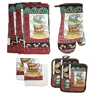 J & M Home Fashions 8-Piece Printed Kitchen Towel Set, Coffee