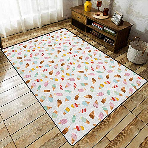 Indoor/Outdoor Rug,Ice Cream,Cartoon Doodle Style Creamy Delicious Diary Desserts with Various Sweet Flavors,Anti-Slip Doormat Footpad Machine Washable Multicolor