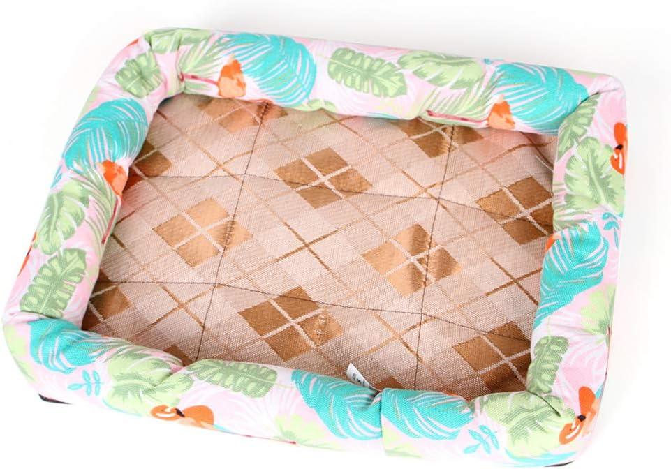 Pet home cat litter kennel almohadilla de enfriamiento de verano estera perrera material de seda de hielo almohadilla de refrigeración cat dog universal almohadilla de refrigeración-Flamingo-XL