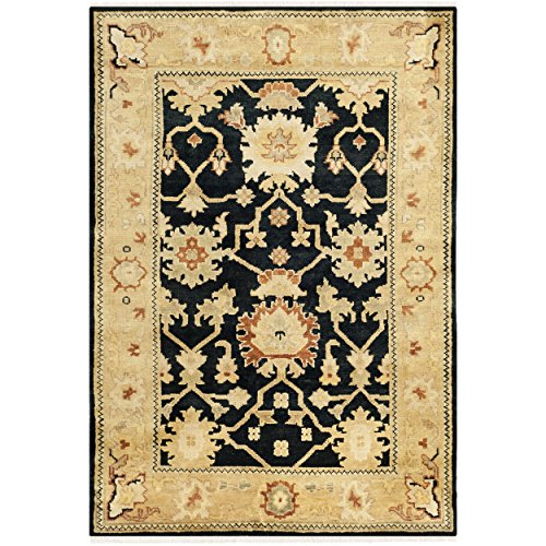 Safavieh Oushak Collection OSH115D Hand-Knotted Black and Light Gold Wool Area Rug (10' x 14') - Oushak Black Area Rugs