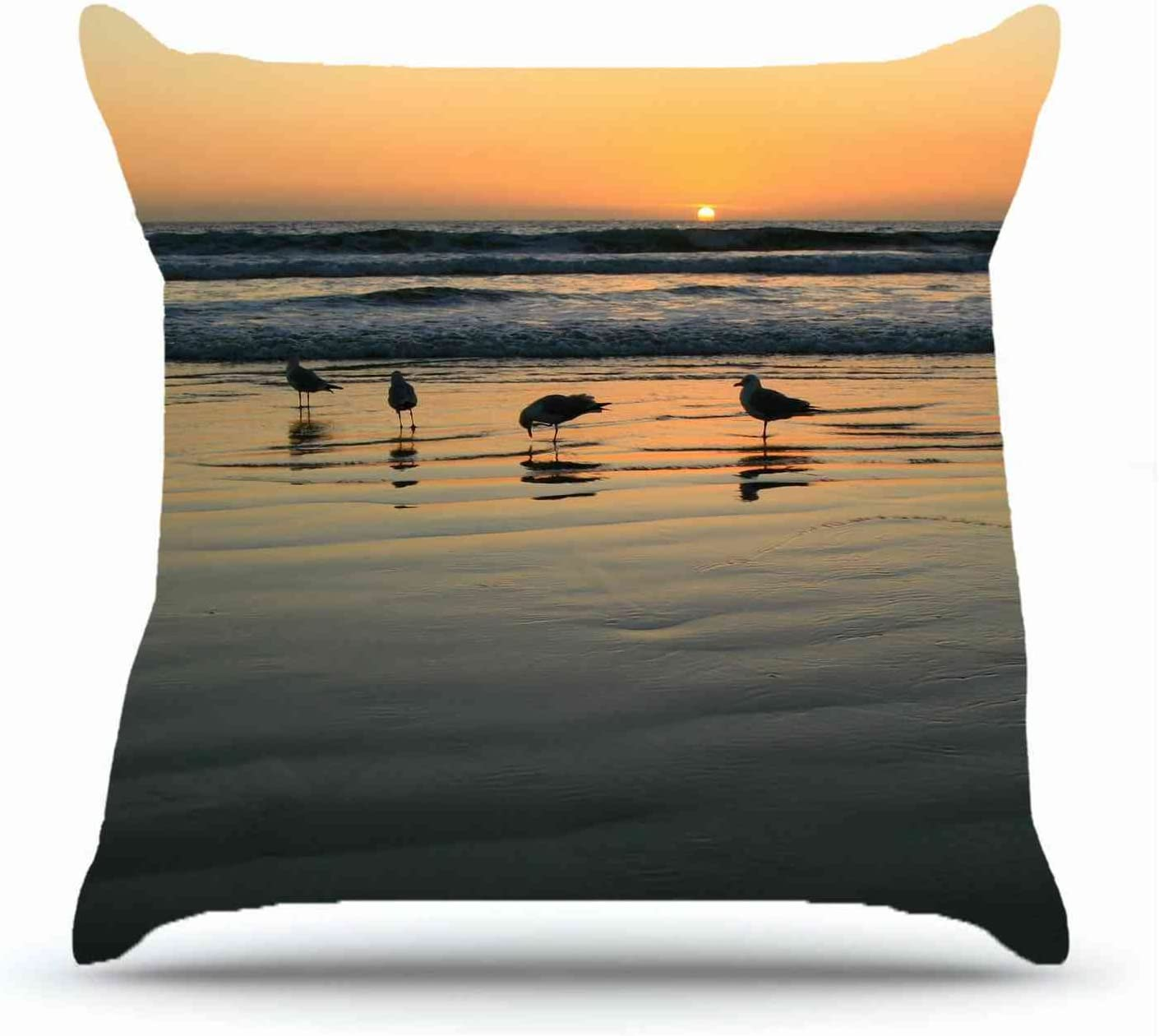 Throw Pillowcase 18 X 18 Inches Cotton Pillowcases Decorative Pillow Cover Case with Hidden Zipper Cushion Covers - Animals gulls sea s sunset nlight For Living Room