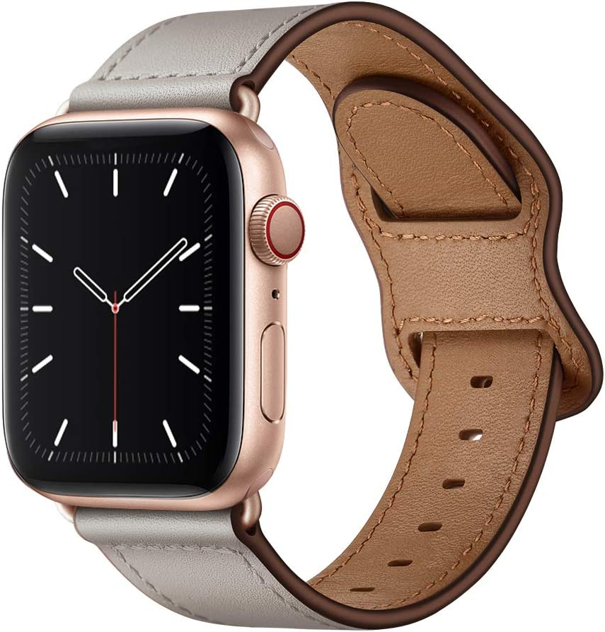 KYISGOS Compatible with iWatch Band 40mm 38mm 44mm 42mm, Genuine Leather Replacement Band Strap Compatible with Apple Watch SE Series 6 5 4 3 2 1 (Ivory White/Rose Gold, 40mm/38mm)