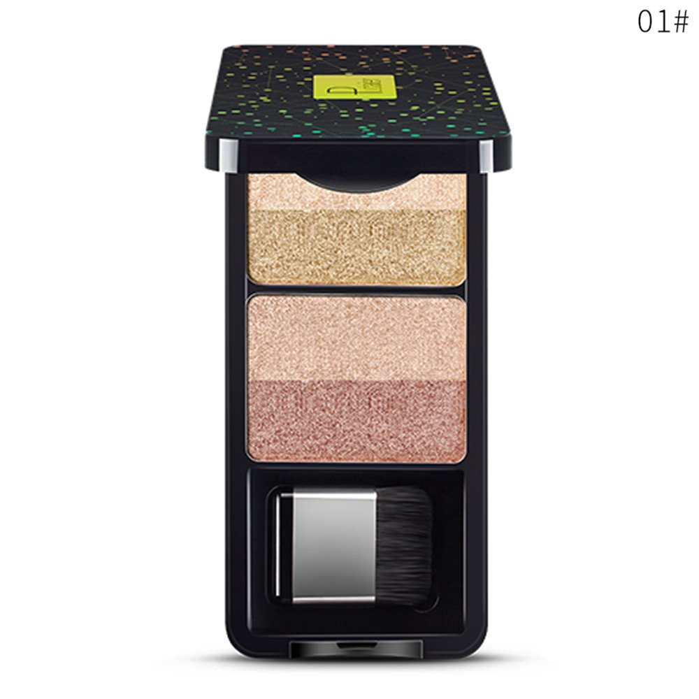 Shimmer Eyeshadow Palette 4 Colors Sparkle Eyeshadow with Mirror& Brush Professional Nudes Warm Natural Bronze Neutral Smoky Cosmetic Eye Shadows Long Lasting for Daily& Evening Party (A) Nibito