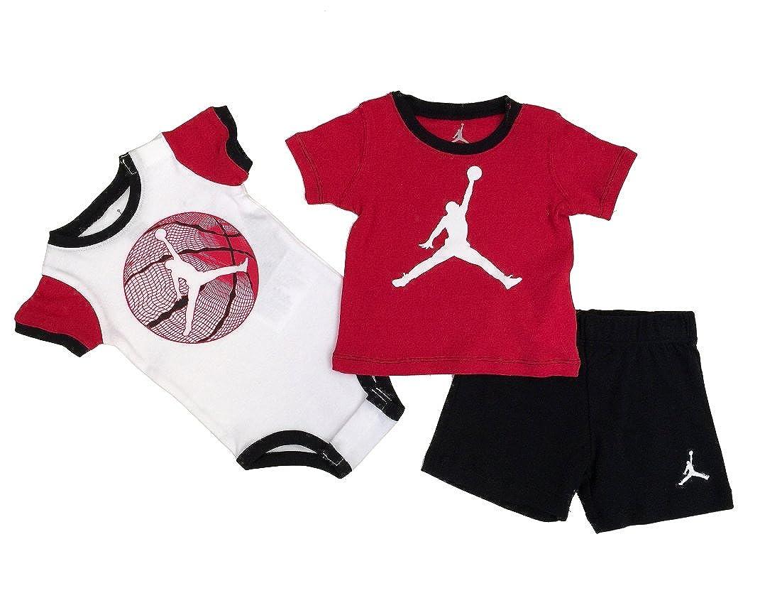 377df67566667d Nike Jordan Infant New Born Baby Bodysuit and Pants 3 Pcs Layette Set (6 9M)   Amazon.co.uk  Sports   Outdoors