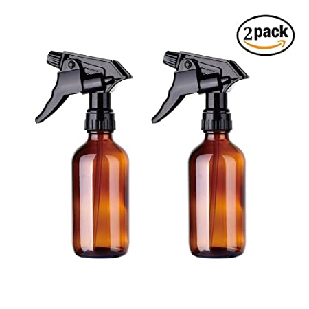 eb8673f2dc99 2 Pack Empty Amber Glass Spray Bottles with Black Trigger Sprayers,8 oz  Refillable Container for Essential Oils, Cleaning Products, or Aromatherapy  ...