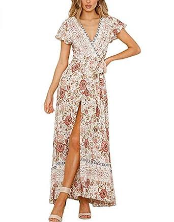 b61c3306f706ea Yutila Damen Kleider Boho Sommerkleid V-Ausschnitt Maxikleid Blumen  Strandkleid Lang mit Schlitz