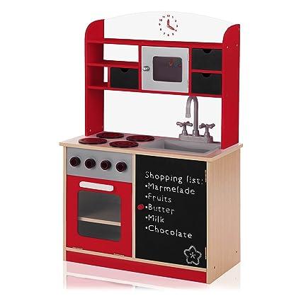 Baby Vivo Cocina de Juguete de Madera con Pizarra - Mila en Rojo