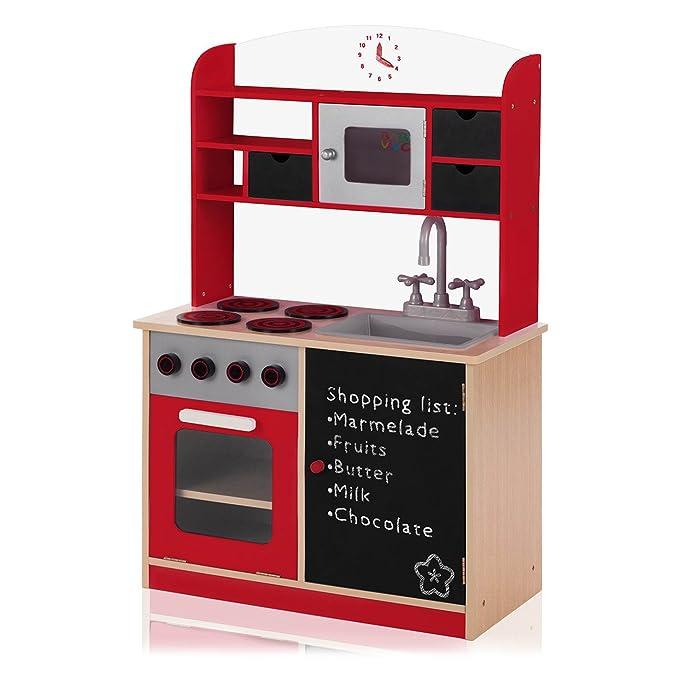 Kinderküche Holz mit Tafel - Baby Vivo Spielküche mit Tafel