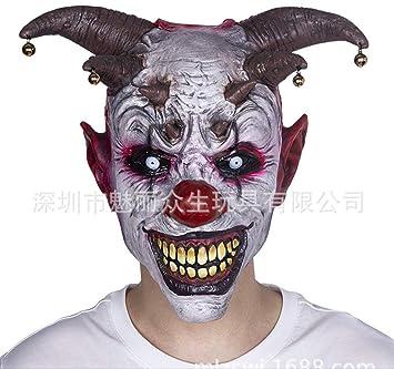 dhude Máscara De Látex Máscara De Juego De Juguetes Extraños Máscara De Horror Bell Clown Cabeza Set Halloween Mascarade Rendimiento Apoyos Carnaval Fiesta Máscara: Amazon.es: Juguetes y juegos