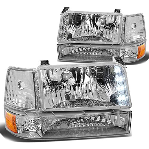 Assembly Bronco Ford Grille 96 (DNA Motoring HL-OH-F15092-6P-LED-CH-AM Headlight Assembly, Driver & Passenger Side)