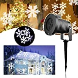 LED Snowflake Projector Light - Maxesla Christmas Lights Projector Waterproof Indoor Outdoor Night Light, Moving Snowflake Spotlight Holiday Lights, Rotating Laser Lights, Decoration Light for Party