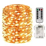 perfect patio wall decor ideas LightsEtc 200 Fairy String Lights Battery Operated Waterproof Twinkle Led String Lights Remote Control Timer 8 Modes 66ft Copper Wire Firefly Lights Halloween Thanksgiving Christmas Decor Warm White