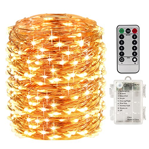 LightsEtc 200 Fairy String Lights Battery Operated Waterproof Twinkle Led String Lights Remote Control Timer 8 Modes 66ft Copper Wire Firefly Lights Halloween Thanksgiving Christmas Decor Warm White