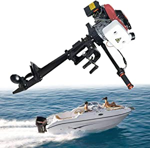 SICAN New 4HP Boat Engine Heavy Duty 4 Stroke Outboard Motor Air Cooling System 52CC Boat Engine-Full Saltwater and Freshwater Compatibility