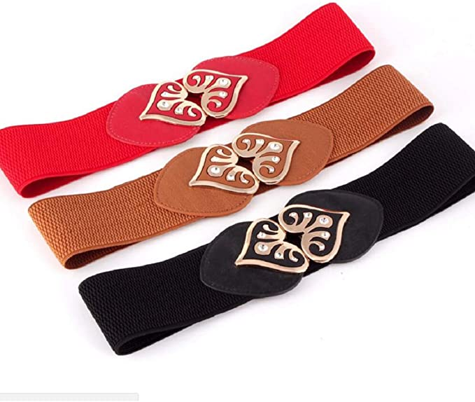 Irypulse Mujer El/ástico de Cors/é de Cintura de Hebilla Antigua de Corazon Nueva moda de aleacion de vintage Accesorios cinturon de cuero estiramiento ancho cinturones Adecuado para jeans Falda