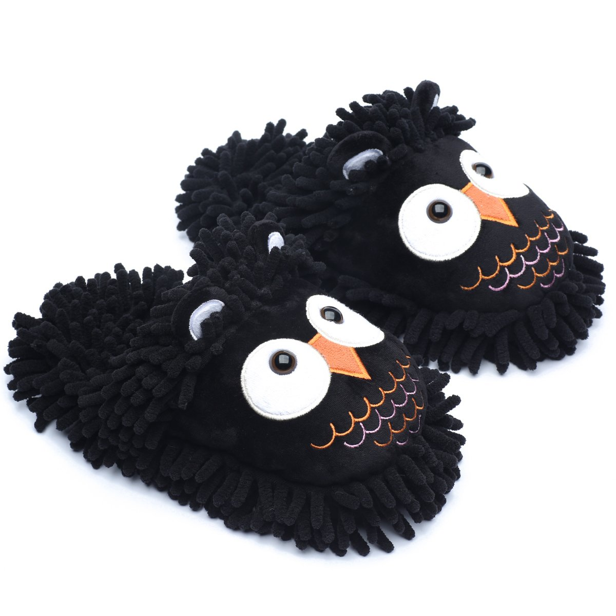 Ofoot Winter Warm Plush Anti-slip Indoor Animal Slippers for Women and Men (M/L 8-10 B(M) US, Black(Owl))