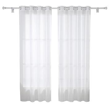 Deconovo 2er Set Vorhang Transparent Gardinen Wohnzimmer Voile Senvorhang 245x140 Cm Weiss