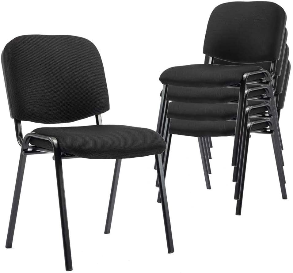 Events DM Furniture Comfort Conference Chairs for Conference Rooms Community and Home 5 Pack Stackable Black Fabric Reception Chair Set of 5 Seminars