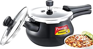 Prestige Deluxe Duo Plus Hard Anodised Handi Pressure Cooker With Stainless Steel Lid 3.0 Liters and Glass lid
