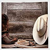 Cotton Microfiber Hand Towel,Western Decor,American West Rodeo White Straw Cowboy Hat with Lariat Leather Boots on Rustic Barn Wood,for Kids, Teens, and Adults,One Side Printing