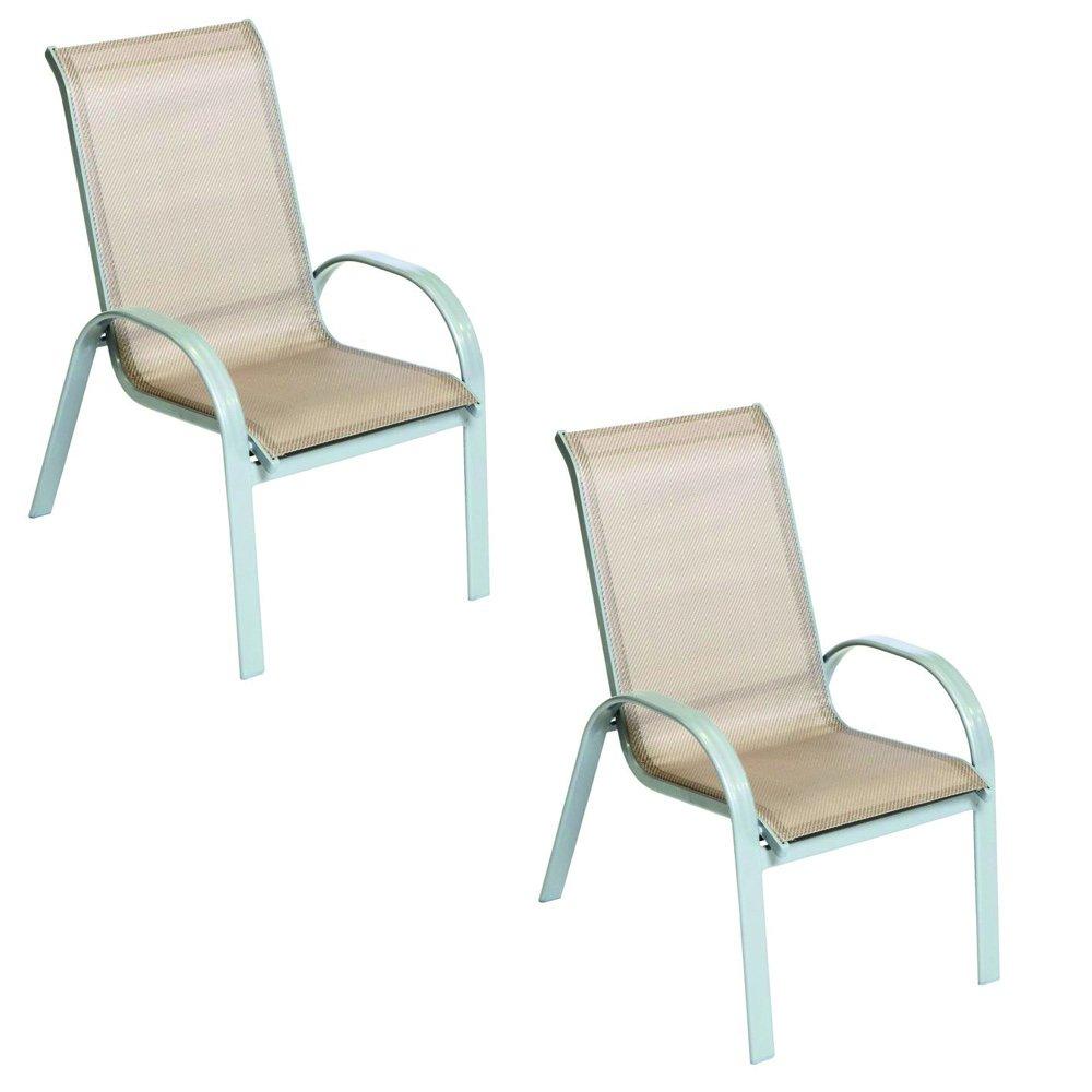 Sessel Gartenstuhl Stapelsessel Amalfi 2-er Set mit Textilgewebe Bespannung in champagner