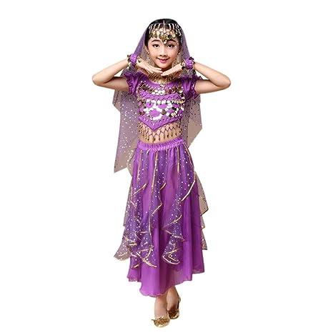 Hunpta Kinder Mädchen Bauchtanz Outfit Kostüm Indien Dance Kleidung Top + Rock