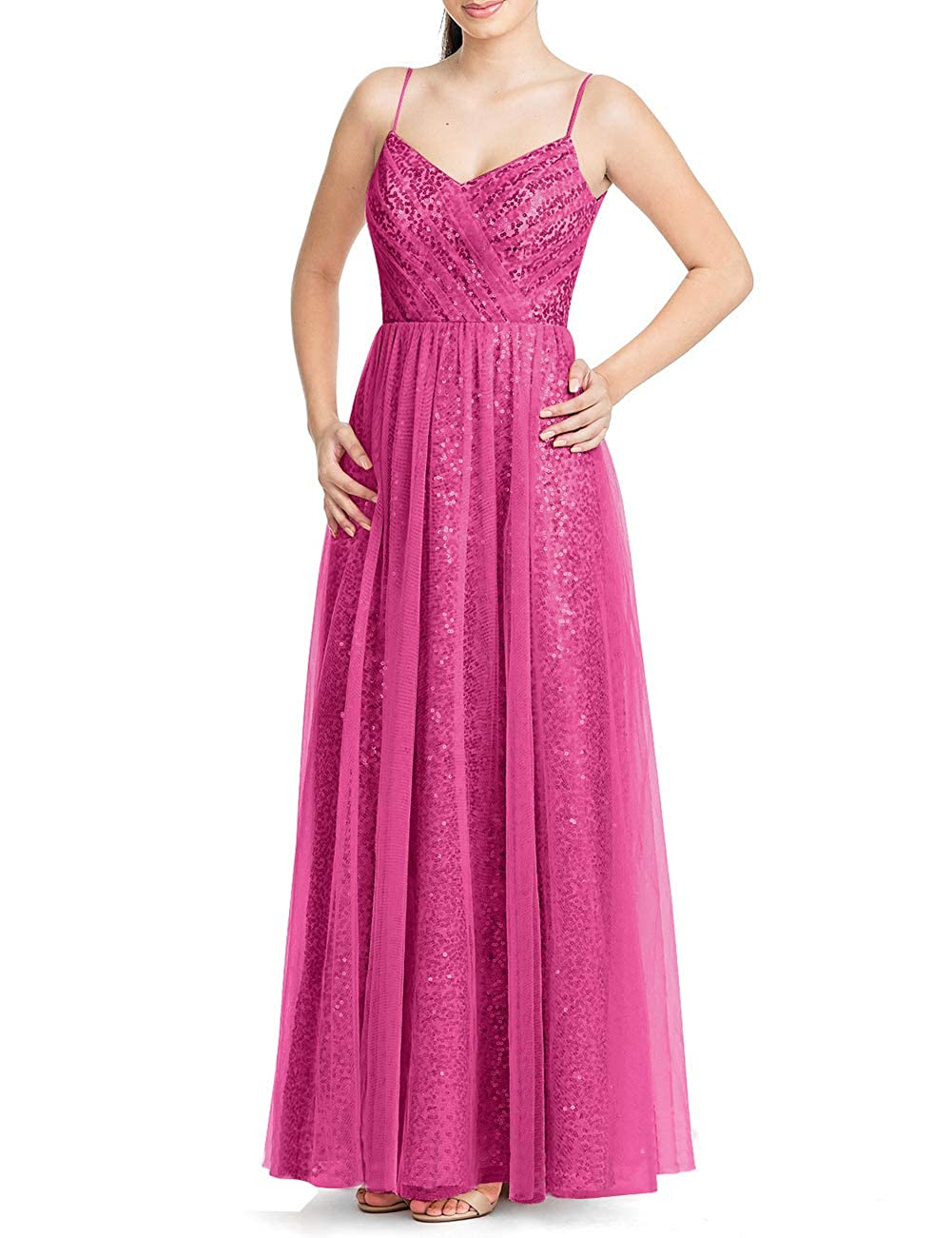 Fuchsia Uther Long Bridesmaid Dresses Sequins Spaghetti Straps Formal Evening Party Prom Gown