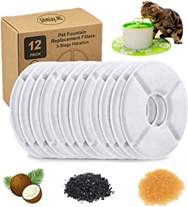 Rkicemoy 12-Pack Pet Water Fountain Replacement Filter, Cat Fountain Filters, Activated Carbon Replacement Filter, Automatic Water Dispenser Filters, Keep Water Fresh