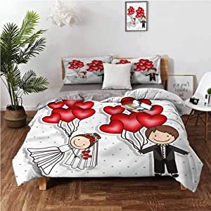 """Anyangeight Washed Duvet Cover Set, Wedding Funny Newlyweds Balloons 3-Piece Bedding Sets (1 Duvet Cover,2 Pillow Shams) Brushed Microfiber Bedding - Cal King 104""""x98"""""""