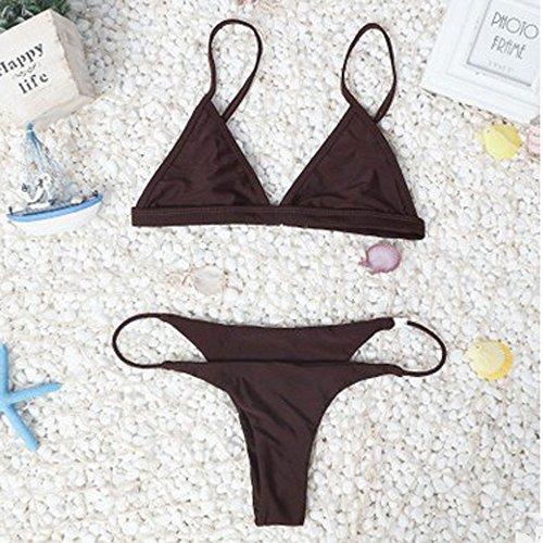 Covermason Mujer Push-up Acolchado Bra Vendaje Bikini Ropa de Playa (1Conjunto) Café