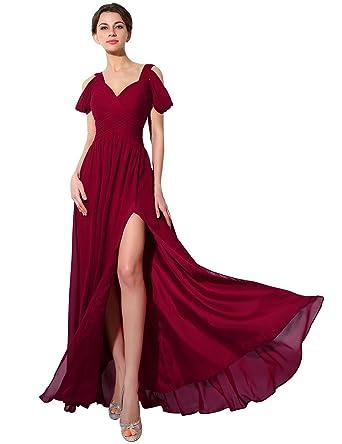 b30ab945e4 Sarahbridal Juniors Off Shoulder Prom Dresses Long 2019 Side Split Chiffon  Bridesmaid Ball Gowns Burgundy US2