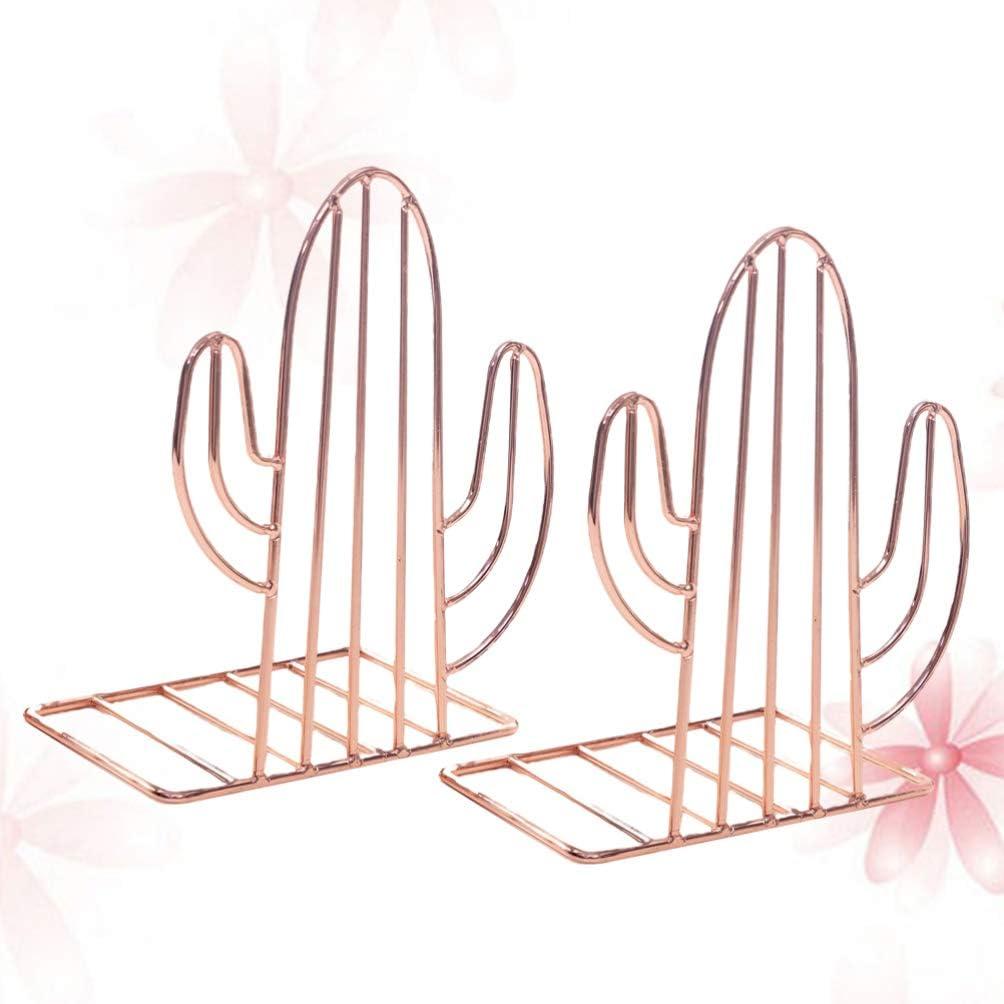 Oro Rosado Vosarea Sujetalibro Met/álico Dise/ño de Cactus Sujetalibro Decorativo Soporte para Libros Adornos de Cactus para Hogar Oficina
