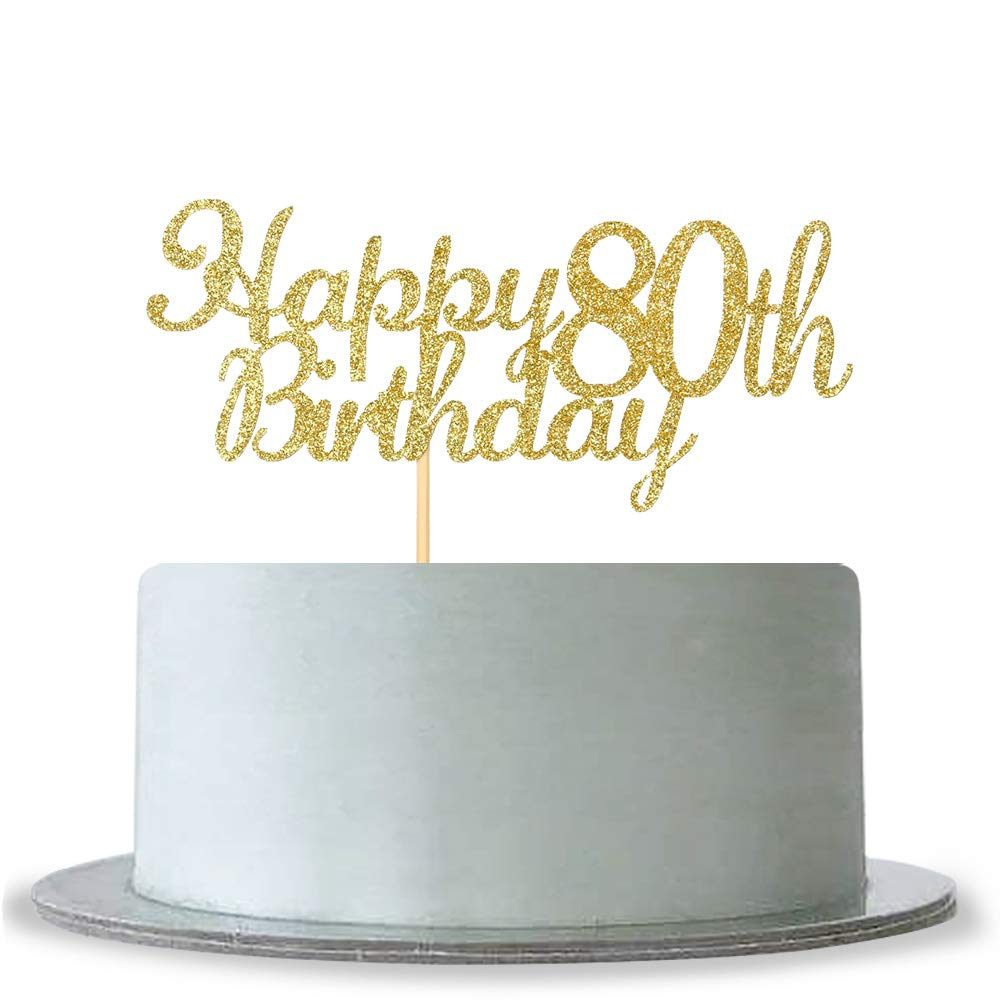 Amazon WeBenison Happy 80th Birthday Cake Topper Gold Glitter Hello 80 Fabulous Anniversary Party Decoration Kitchen Dining