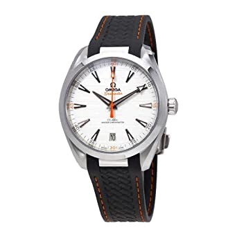 67a7d777fdc Image Unavailable. Image not available for. Color  Omega Seamaster Aqua  Terra Teak Silver Dial Mens Watch on Grey Rubber Strap ...