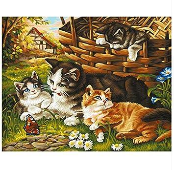 Gato Juguetón En El Jardín Pintura Para Pintar Al óleo De Diy Para