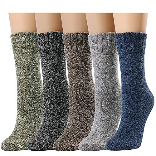 Womens Crew Socks Casual Comfy Wool Cotton Warm Boot Socks Assorted Color (One Size, Multicolor-Dark)