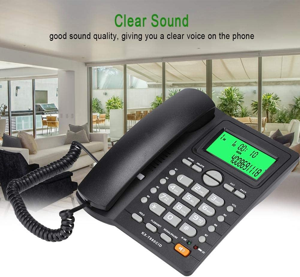 ASHATA Corded Phone,Caller ID Display Speed Dial Landline Telephone,No Battery Mute Pause//Hold Last Number Redial Function,for Home Business Office White