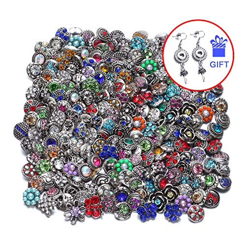 (RoyalBeier Mixed Lot Multi Color Rhinestone Metal Button Charms 12mm Snap Button for Snap Jewelry HM008)