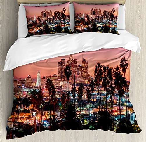 Ambesonne United States Duvet Cover Set Queen Size, Vibrant Sunset Twilight Scenery Los Angeles Famous Downtown with Palm Trees, Decorative 3 Piece Bedding Set with 2 Pillow Shams, Dried Rose