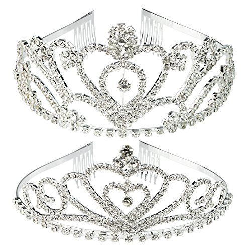 SUMERSHA 2 Pack Wedding Tiara Rhinestones Crystal Bridal Crown with Comb Heart-Shape Princess Crown Headband For Party -