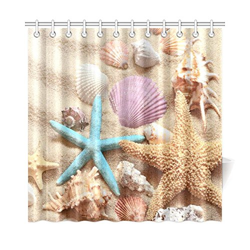InterestPrint Summer Beach Home Decor, Seashell Starfish Sand Polyester Fabric Shower Curtain Bathroom Sets 72 X 72 Inches