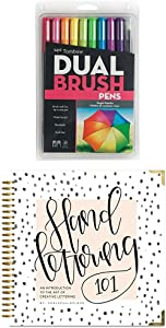 Tombow Dual Brush Pen Art Markers, Bright, 10-Pack plus Hand Lettering 101: An Introduction to the Art of Creative Lettering