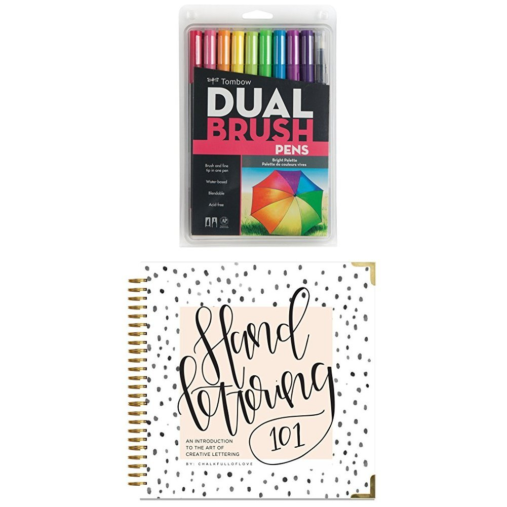 Tombow Dual Brush Pen Art Markers, Bright, 10-Pack plus Hand Lettering 101: An Introduction to the Art of Creative Lettering by  (Image #1)
