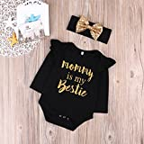 "Newborn Baby Girls Clothes Floral ""Mommy is My bestie"" Bodysuit Romper +headband (0-6 Months, Black)"