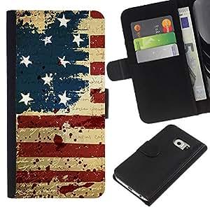 LECELL--Cuero de la tarjeta la carpeta del tirón Smartphone Slots Protección Holder For Samsung Galaxy S6 EDGE -- Vintage grunge EE.UU. BANDERA --