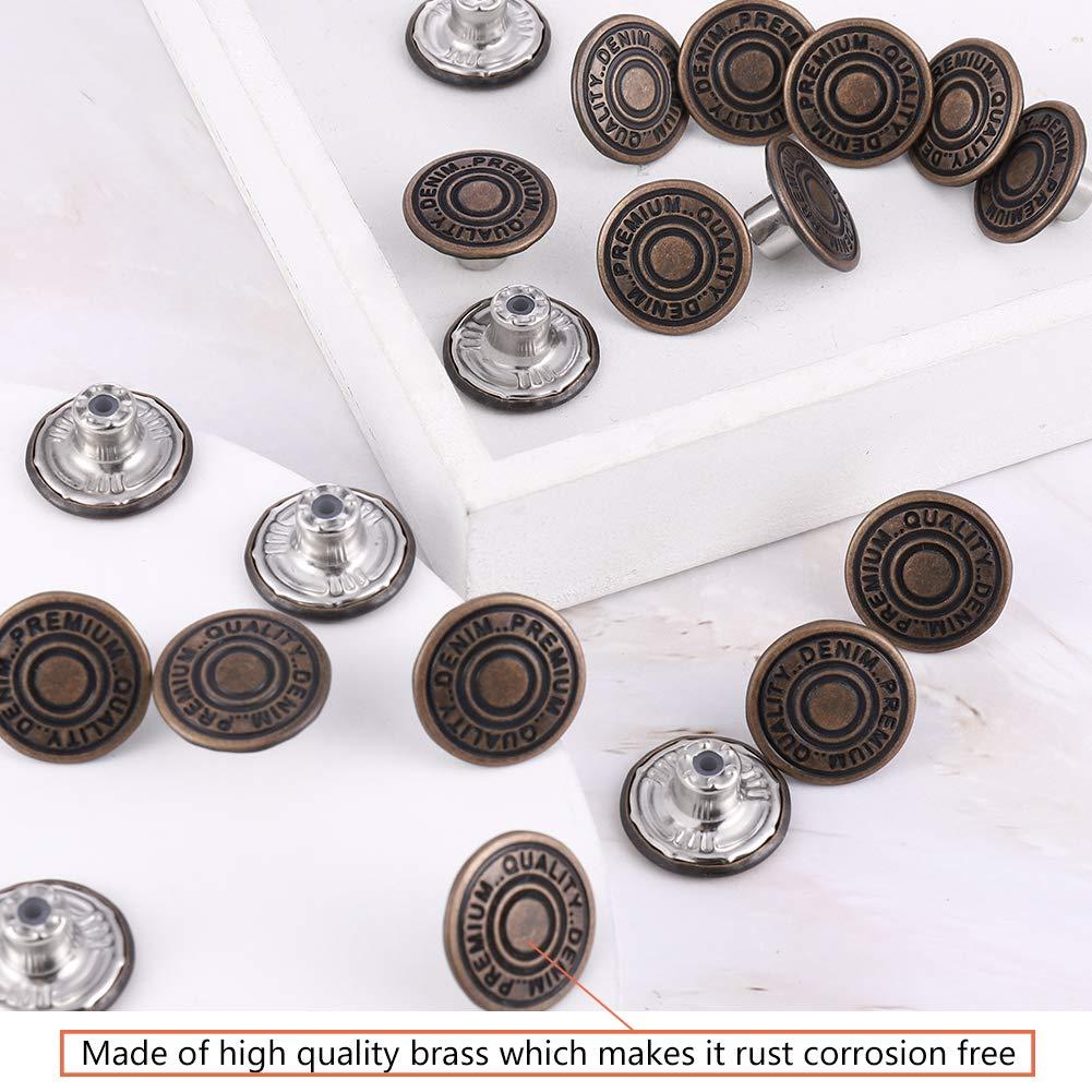 Plata Thursday April 20 Unidades 20mm de Botones Jean Tack de Repuesto Botones para Vaqueros Botones de Metal sin Costura para Jeans Chaquetas