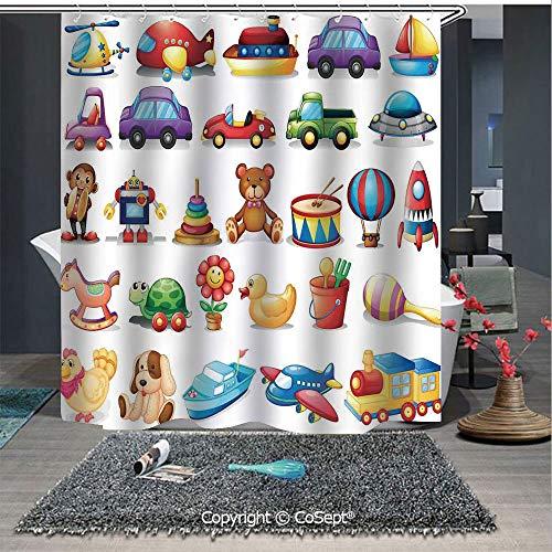 SCOXIXI Shower Curtain with Hooks,Cartoon Toys Print Drum Rocking Horse Plane Robot Carsken Teddy Bear Art Pattern,for Bathroom(59.05