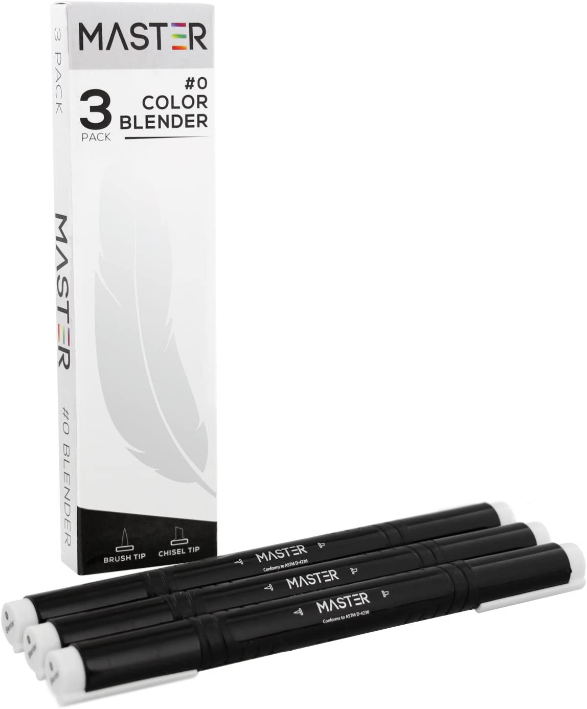Master Markers Dual Tip Artist Blender Illustration Markers (Pack of 3) - Chisel/Brush Tip, Rubber Comfort Grip and Plastic Carry Case